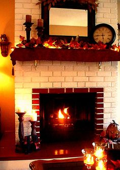 Fireplace Mantel Decor for Fall | Display on side table (same display on opposite side table)