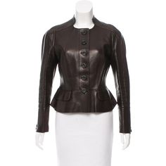 Pre-owned Burberry Prorsum Leather Peplum Jacket ($1,195) ❤ liked on Polyvore featuring outerwear, jackets, brown, leather jackets, genuine leather jackets, burberry jacket, real leather jackets and 100 leather jacket