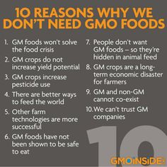 10 reasons we don't need GMO. Genetically modified food can and willl kill you. Why do you think a third of all cancer is food related? We Are The World, In This World, Health And Wellness, Health Tips, Health Articles, Health Care, Gmo Facts, Just In Case, Just For You