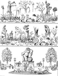 Quino - Potentes, prepotentes e impotentes (Powerful, Arrogant and Impotent) Political Cartoons, Funny Cartoons, Funny French, Everything And Nothing, Nerd Humor, Humor Grafico, Fun Comics, Comic Strips, Caricature