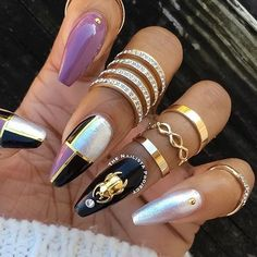 Nail charms and Floss Gloss colors are available at DAILYCHARME.COM! . Gorgeous nails from @thenailistaproject - Color grid nails feat #flossgloss Muave Wives, Black Holy, and 1080 Pearl, and gold beetle charm from #dailycharme