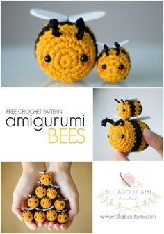 Amigurumi Bees Pattern: Bumble & Queen Bee 2019 Crochet these adorably sweet bees! They are quick and simple projects perfect for beginners! The post Amigurumi Bees Pattern: Bumble & Queen Bee 2019 appeared first on Knit Diy. Beau Crochet, Crochet Mignon, Crochet Bee, Crochet Simple, Crochet Gratis, Crochet Patterns Amigurumi, Cute Crochet, Beautiful Crochet, Crochet Dolls