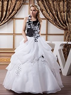 Marrissa - Two Tone Satin Halter Ball Gown with Floral Design - GBP £173.61