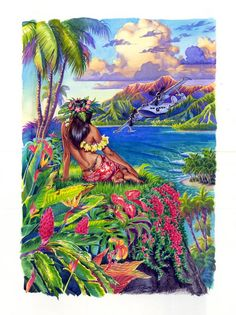 Tahiti girl travel poster watercolor from Phil Roberts (Phil Roberts Studio) on Myspace