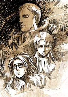 Erwin, Levi and Hanji | Shingeki no Kyojin || http://www.pixiv.net/member_illust.php?id=6721444 [please do not remove this caption with the source]