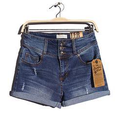 外贸日单 三排扣直筒高腰牛仔短裤 2014女士春夏装弹力卷边热裤