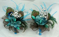 A Teal turquoise peacock jeweled pin corsage by annasinclair on Etsy, $35.00