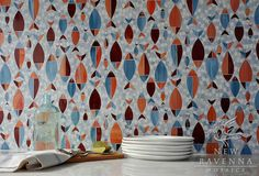 Floating Fish jewel glass mosaic | New Ravenna Mosaics