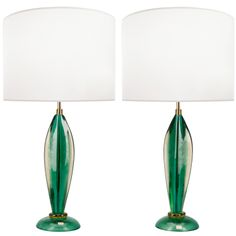 Pair of Seguso Green Glass Lamps   From a unique collection of antique and modern table lamps at http://www.1stdibs.com/furniture/lighting/table-lamps/