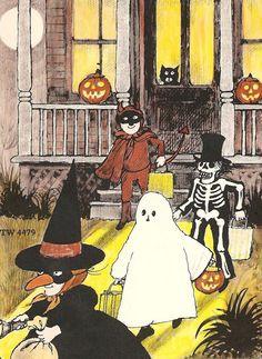 Vintage Halloween Trick or Treat Illustration. Halloween Chat Noir, Halloween Kunst, Halloween Tumblr, Halloween Artwork, Halloween Prints, Halloween Pictures, Halloween Wallpaper, Vintage Halloween Images, Retro Halloween