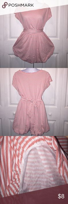 F21 boat neck Creme dress Pastel pink and crime colors. Belt included. Gently used and in good condition Forever 21 Dresses Midi
