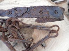 Antique Primitive 18th c. Rare Hand Forged Wrought Iron Hearth  Fireplace Chain…