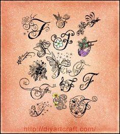 16 lettere F decorative e fantasiose nel poster ispirazione per tatuaggi