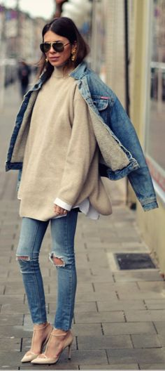 Really like the oversize pullover with the torn skinny jeans and the vintage looking denim jacket