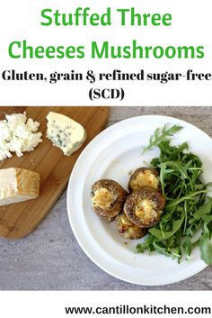 Stuffed Mushrooms with Three Cheeses - Nobody could tell these were free from gluten, grains and suitable for the Specific Carbohydrate Diet (SCD). Baked Mushrooms, Stuffed Mushrooms, Yummy Appetizers, Appetizers For Party, Specific Carbohydrate Diet, Blanched Almond Flour, Cheese Curds, Tray Bakes, Grain Free