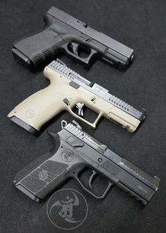 (from the top) Glock 19 vs CZ vs CZ Weapons Guns, Guns And Ammo, Cz P07, Zombie Apocalypse Weapons, Ruger Lc9, Tactical Equipment, Custom Guns, Military Guns, Cool Guns