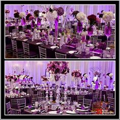 Masses of carnations offer a modern feel for this purple and white wedding
