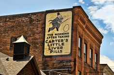 Photography by Joanne Shedrick Old carters little liver pill sign painted on a vintage building in Brattleboro, VT