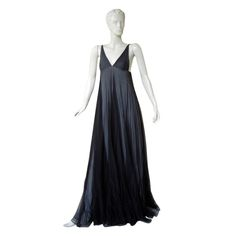 Iconic 1998 Gucci by Tom Ford Plunging Neckline Empire Style Gown | From a collection of rare vintage evening dresses at https://www.1stdibs.com/fashion/clothing/evening-dresses/