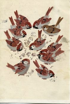 Soviet postcard by E. Charushin, 1967 // feeding birds is natural http://www.blog.designsquish.com/index.php?/site/soviet_postcards_connecting_with_birds/