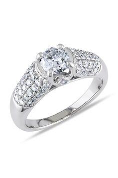 1.25 CT Diamond Engagement Ring In 14k White Gold