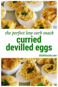 An easy low carb snack idea or even make a few for lunch. Curried devilled eggs are high protein and will keep hunger at bay for hours.   ditchthecarbs.com