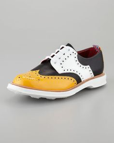 Farthington Patent Wing-Tip Oxford, Black/Yellow by Church & Co. Limited at Bergdorf Goodman.   ( With swag comes color )