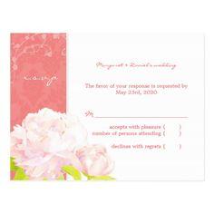 Soft Pink Peony Coral Reef Wedding RSVP (4.25x5.6) Postcard