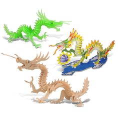 Puzzled Dragon, Dragon Glow in the Dark, and Dragon Pre-colored Wooden 3D Puzzle Construction Kit