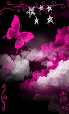 Pink butterfly and stars