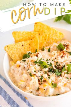 My aunt used to bring corn dip to all of her office parties. Now this tasty dip is one of our most popular summertime appetizers! #amandascookin Potluck Dishes, Tasty Dishes, Inexpensive Appetizers, Yummy Appetizers, Appetizer Recipes, Easy Ground Beef Casseroles, John Wayne Casserole, Corn Dip