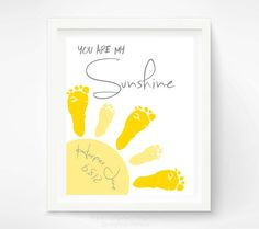 You Are My Sunshine Wall Art Print - Baby Footprint Sun - Gray & Yellow Nursery Art - Baby Wall Art - Nursery Decor