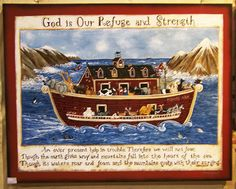 A very original and unique painting of Noah and the Ark. The animals and Noah are going through the storm, but they dont seem to be the least bit concerned! A great bible verse reminds us not to worry when we go through the storm and as you can see, the animals are having a great time in a time of trouble! Great anywhere but especially in a childs room. This beautiful print measures 20.5 x 26 on 1/2 thick wood. It is mounted on half inch thick wood board and comes complete with hooks. It...