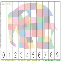 Aprender a contar con Elmer, learning numbers with Elmer, Elmer activities, Elmer printable, Elmer cuento, Elmer actividad,                                                                                                                                                                                 Más Numbers Preschool, Learning Numbers, Preschool Lessons, Book Activities, Preschool Activities, Elmer The Elephants, Summer Art Projects, Maths Puzzles, Math For Kids