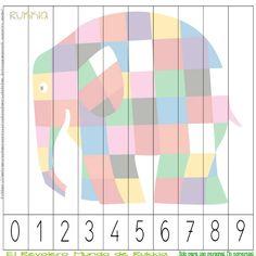 Aprender a contar con Elmer, learning numbers with Elmer, Elmer activities, Elmer printable, Elmer cuento, Elmer actividad,