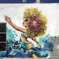 """#mulpix DIANA """"DIDI"""" CONTRERAS @didirok -- the first of three aquatic angels from her mural on NW 25th St. in  #wynwood  #miami"""