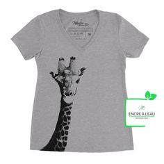 Women's V-Neck T-shirt, Giraffe, Giraffe Printed Water Based Ink Creation T Shirt, Giraffe Print, Shirts With Sayings, Screen Printing, V Neck T Shirt, T Shirts For Women, Etsy, Prints, Mens Tops