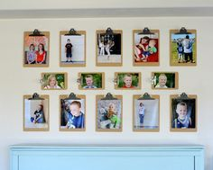 Display the photos you love with clipboards. It's easy, (relatively) inexpensive and the best part is you can change the photos anytime!