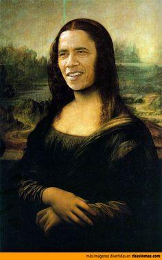 Versiones divertidas de La Mona Lisa: Obama.