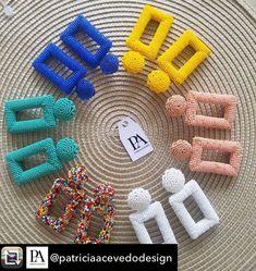 Beaded Earrings Patterns, Diy Earrings, Jewelry Patterns, Beading Patterns, Bead Embroidery Jewelry, Fabric Jewelry, Beaded Embroidery, Beaded Jewelry, Recycled Jewelry