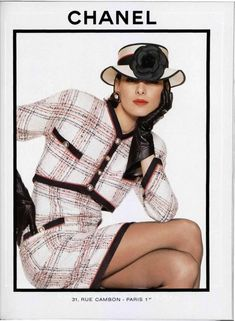 Short jacket with tall skirt or dress in tweed. Beautiful. Wouldn't have thought of it.Vintage Chanel Ad
