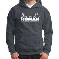 I'm With Human Gildan Hoodie (on man) Shirt