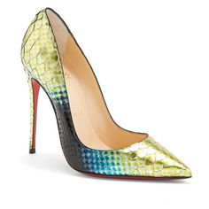 Gorgeous hand-painted python exudes sophistication in this covetable So Kate pump, perched on a fine, near-vertical stiletto heel. The iconic Louboutin red sol…