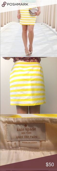Kate Spade yellow and white striped pencil skirt Kate Spade yellow and white striped pencil skirt 18 inches long. Waist 28 inches kate spade Skirts Pencil
