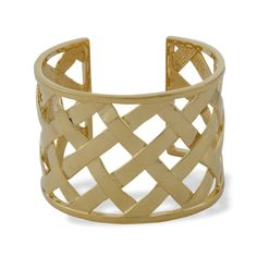 Kenneth Jay Lane Basket Weave Cuff $125 - Features a sleek shade of gold that matches everything with lattice detail that is easy to dress up or down