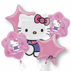 Hello Kitty Happy Birthday Foil Balloon Bouquet in Home, Furniture & DIY, Celebrations & Occasions, Party Supplies | eBay