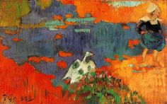 Gauguin, Paul - Breton woman and goose by the water - 1888