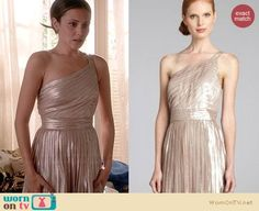 April's metallic pleated one-shoulder dress on Chasing Life.  Outfit Details: https://wornontv.net/34449/ #ChasingLife