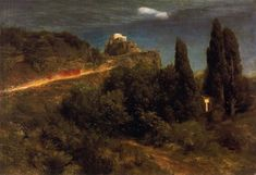 Arnold Bocklin. Soldiers rising to the mountain fortress. 1871