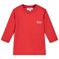 BOSS Boys Red Logo T-Shirt at Childrensalon.com